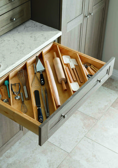 Great ideas for kitchen solutions! Angled drawer dividers make it easy to store longer utensils, like rolling pins, and free up valuable countertop space. Shop more kitchen solutions from Martha Stewart Living at The Home Depot. Kitchen Ikea, Farmhouse Kitchen Cabinets, Diy Kitchen Storage, New Kitchen, Kitchen Decor, Smart Kitchen, Kitchen Utensils, Drawer Storage, Kitchen Gadgets