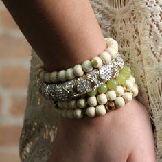 Gold and Two Tone Rhine Stretch Bracelet