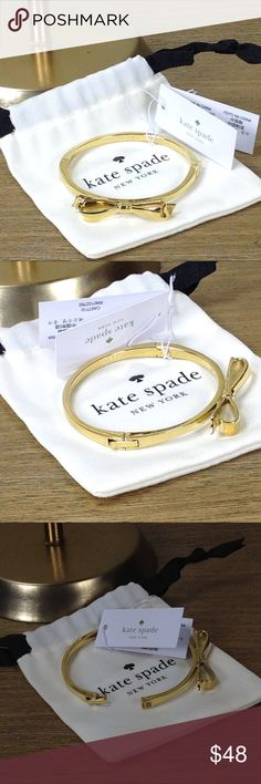 NWT Kate Spade 12k Gold Plated Enamel Bow Bracelet 100% Authentic Kate Spade 12k gold and enamel bow bracelet is the epitome of simple elegance. New with tags with no scratches or marks. Thanks for your interest!  Please checkout the rest of my closet. kate spade Jewelry Bracelets