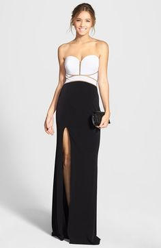La Femme Strapless Cutout Colorblock Jersey Gown available at #Nordstrom