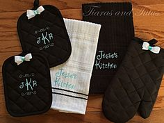 Kitchen Towels with Pot Holders and Oven Mitt; Personalized, Black, Tiffany Blue and White with Coordinating Bow Accent; Kitchen Gift Set by elainestiarasntutus on Etsy