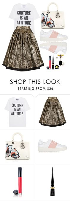 """""""Couture is an attitude #pleatedskirt"""" by ruelalou on Polyvore featuring Moschino, Versace, Christian Dior, Valentino, Estée Lauder and Christian Louboutin"""