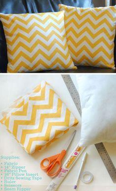 Chevron Throw Pillow with Zipper Closure | Click Pic for 26 DIY Living Room Decor on a Budget | DIY Living Room Decorating Ideas