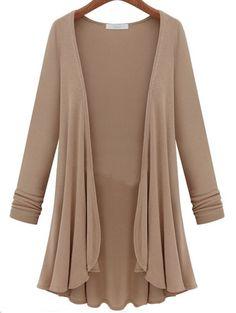 Khaki Long Sleeve Plus Top