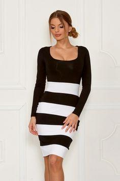 Puzdrové šaty s dlhým rukávom, okrúhlym výstrihom v prednej časti. Vhodné na príležitosť, do práce, či na bežné nosenie.