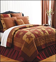 The Nine Patch Star Bedding features stars quilted on simple blocks in burgundy and tan. Available as quilt, throw and pillow sham; additional items also available. Order these items at www.allysonsplace.com. See more country products in the March issue of Country Sampler: http://www.samplermagazines.com/February_March_2014_Country_Sampler_Pre_sale_p/c314b001a.htm