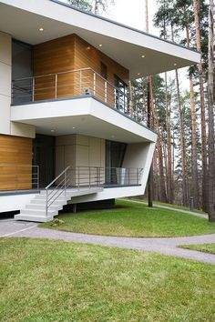 Gorki House A Contemporary piece near Moscow by Atrium - House Design Architecture Origami, Architecture Design, Contemporary Architecture, Modern Exterior, Exterior Design, Maison Atrium, Modern House Design, Building A House, House Plans