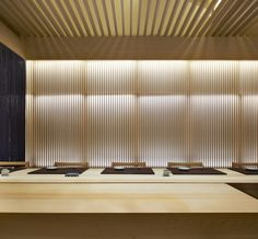 Sushi Zen in Beijing, China by odd - 谷德设计网 Sushi Counter, Japan Room, Japanese Restaurant Interior, Restaurant Counter, Noodle Bar, Continuous Lighting, Counter Design, Japanese Modern, Sushi Restaurants