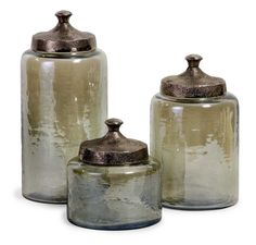 IMAX Round Green Luster Canisters - Set of 3