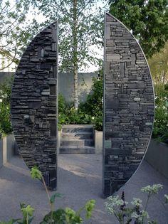 Divided - slate & steel - x approx. Sculpture by Tom Stogdon Landscape Art, Landscape Architecture, Landscape Design, Outdoor Sculpture, Stone Sculpture, Garden Features, Garden Structures, Land Art, Stone Art