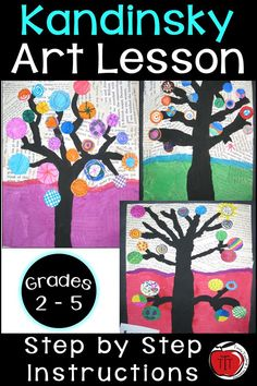 Free step by step instructions on how your students can create these beautiful Kandinsky inspired trees. Ideal for grade, grade, grade, and grade classrooms. Art your students can be proud of. No two will turn out the same. Art focused on t Arts And Crafts Movement, Third Grade Art, Grade 3 Art, 3rd Grade Art Lesson, Grade 2, Design Color, Texture Design, Kandinsky Art, Arts And Crafts For Adults