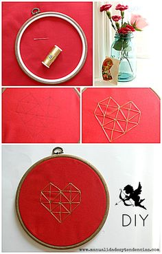 Decoración minimalista para San Valentín www.manualidadesytendencias.com #San #Valentín #bastidor #bordar #corazón #Valentine's #day #embroidery #broder #Saint #Valentin #manualidades #crafts