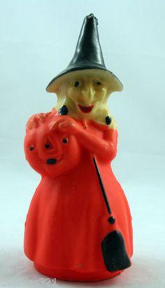 Vintage Halloween Gurley Candle Large Witch JOL Jack Lantern Pumpkin   eBay
