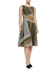 MISSONI Sleeveless Metallic Patchwork Full-Skirt Dress, Olive/Multi. #missoni #cloth #dress
