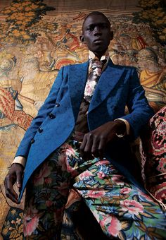 Fernando Cabral wearing Dries Van Noten. Photographer: Nicolas Coulomb & Stylist Georgia Pendlebury for Novembre Magazine