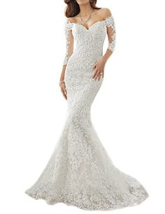 OYISHA Off Shoulder Lace Mermaid Wedding Dresses 12 Sleeve Bridal Gown WD164 White 4 ** Visit the image link more details.(This is an Amazon affiliate link and I receive a commission for the sales)