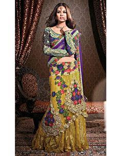 Bold & Beautiful Bridal Lehenga Saree Item code : SHL1501  http://www.bharatplaza.in/womens-wear/sarees/bridal-sarees/bold-beautiful-bridal-lehenga-saree-shl1501.html