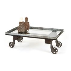 Jamestown Coffee Table with Glass Top on Galvanized Metal and Iron