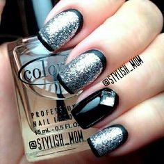 Black  silver cartoon nails #Black #nailart #cartoon
