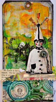 Funny Boy tag by Dina Wakely - notice the embossed metal at the bottom, alcohol inks, too?