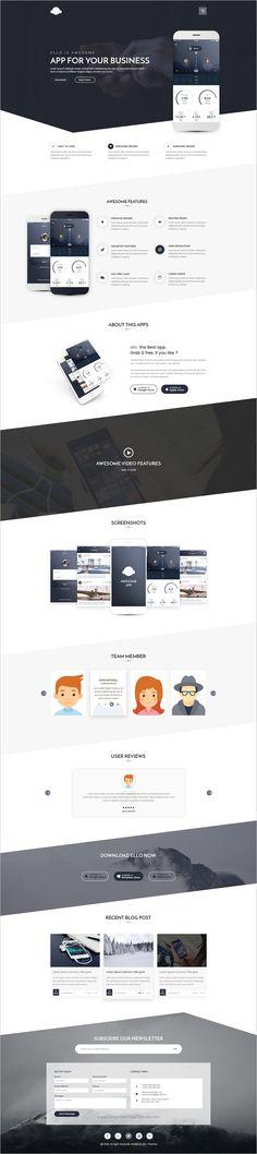 Ello is a wonderful multipurpose #PSD #template for #webdev app landing page website download now➩ https://themeforest.net/item/ello-multipurpose-app-landing-psd-template/18601862?ref=Datasata