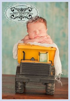 newborn baby boy pic- Oh my Goodness!!! So Sweet and my dad has an old truck like this in the attic that used to be his.... how precious would that be!! <3