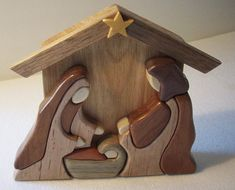 Wood intarsia Nativity Scene, Baby Jesus, Mary, Joseph, Nativity