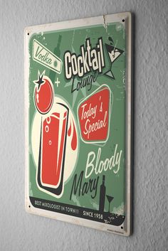 Tin Sign Alcohol Retro Bloody Mary Kitchen
