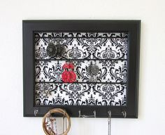 Black Jewelry Organizer Damask Frame Wall Jewelry by TheHopeStack, $33.50
