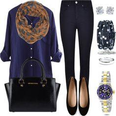 Andrea Moda y Asesoría: Blusa Azul oscuro Pantalón Azul oscuro FW15-16