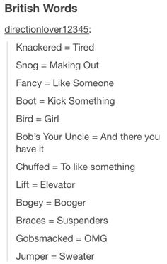 British Words...now America, why did we feel the need not to say these wonderful things?