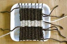 cardboard loom weaving for kids | beginning weaving on cardboard loom for kids | Yarn Craft Non-Crochet ...