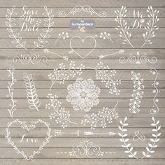 Chalkboard Rustic wedding clipart by burlapandlace on Creative Market