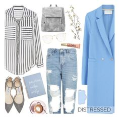 """Distressed Denim"" by anamarija00 ❤ liked on Polyvore featuring Topshop, Harris Wharf London, Jimmy Choo, Martha Stewart, Pier 1 Imports, Linda Farrow, Too Faced Cosmetics, STELLA McCARTNEY, denim and distresseddenim"