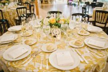 Patterned Table Linens for a Twist | See the wedding on SMP: http://www.StyleMePretty.com/2014/01/02/mount-hope-farm-wedding/ Michelle Gardella Photography | @L a Tavola Linen
