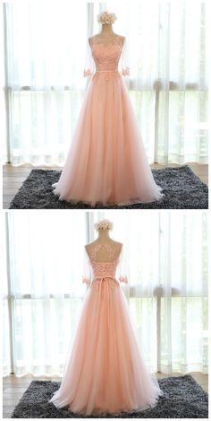 pink bridesmaid dress,chiffon evening dress,long prom dress,formal dress,women's