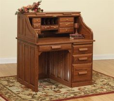 """42"""" Traditional Amish Roll Top Desk Add additional drawers to the top of this roll top desk for even more storage!"""