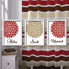 Relax Soak Unwind - Red Beige Tan Brown - Flourish Dahlia Flower Artwork Set of 3 Bathroom Prints WALL Decor ART Picture Match