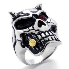Konov Jewelry Gothic Biker Skull Mens Stainless Steel Ring - Silver Red Black Available In Size 8 9 10 11 12 13 14 by Pin Zhen Gothic Jewelry, Metal Jewelry, Skull Jewelry, Boho Jewelry, Jewelry Accessories, Bullet Ring, Mens Skull Rings, Men's Jewelry Rings, Jewellery Uk