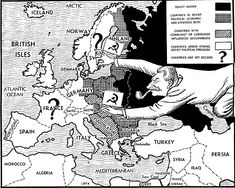 Cold War Propaganda like this one shows Stalin the leader of the USSR slowly creeping into allied controlled territory in Europe and with the possibility of more soviet influenced countries in later years.