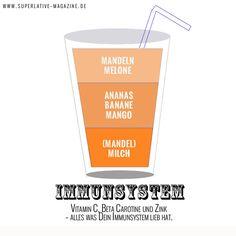 Smoothie für ein starkes Immunsystem  Zutaten: 1/3 Cup gemahlene Mandeln 1 Cup gehackte Melone ½ Cup gewürfelten Ananas, frisch oder aus der Dose 1 Banane 1 Cup geschälte, entkernte, gewürfelten Mango ½ Cup ungesüßte Mandelmilch Eiswürfel