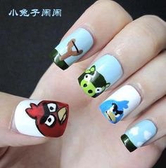 This One Is The Angry Bird And Hello Kitty Inspired Nail Art 3 My Nails Pinterest