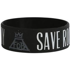 Fall Out Boy Save Rock And Roll Rubber Bracelet | Hot Topic ($5.25) ❤ liked on Polyvore featuring jewelry, bracelets, accessories, fall out boy, rubber bracelets, rubber jewelry, rubber bangles, rock and roll jewelry and rock n roll jewelry