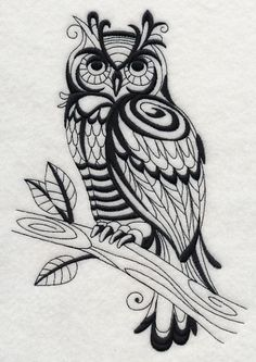 RELISTED: Set of 2 blackwork perched owls embroidered  fabric quilt squares