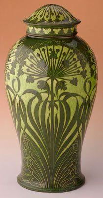 Josef Ekberg  Swedish, 1877-1945  Covered vase, 1899  Earthenware with underglaze slips