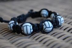Volleyball Workouts Discover Black Volleyball bracelet - More cord colors and sports theme options available Volleyball Crafts, Volleyball Memes, Volleyball Outfits, Volleyball Workouts, Coaching Volleyball, Volleyball Pictures, Beach Volleyball, Volleyball Hairstyles, Volleyball Designs