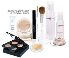 Sheer Cover ... great mineral makeup! Deluxe set comes with makeup bag, set of brushes, cleanser and moisturizer.