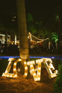 Love lights decor - perfect for an outdoor wedding! {Buzzworthy Events}