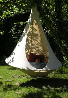 Awesome indoor/outdoor hanging tent - easy to assemble/disassemble and transport for camping!