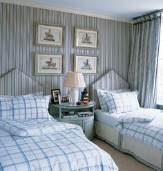 Celestial Ceiling --- Tired of staring at the same blah white ceiling? Paint a ceiling to create depth and contrast in a room. For a subtle change, chooose a light shade of pale blue to float overhead. Your room will feel instantly airy and light, as though that were blue sky above.